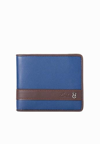 手感。Nappa牛皮設計短夾-06324-藍色, 飾品配件, esprit sg對折短夾