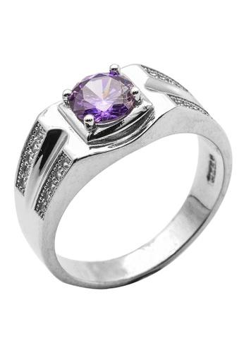 Elfi purple Elfi 925 Genuine Silver Men's Engagement Ring R18 - The Purple Knight 8DB9FAC51F0EB9GS_1