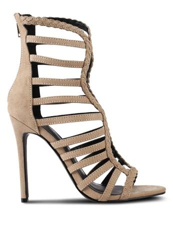 Something Borrowed brown Caged Stiletto Heels B1BA4SH5AC106FGS_1