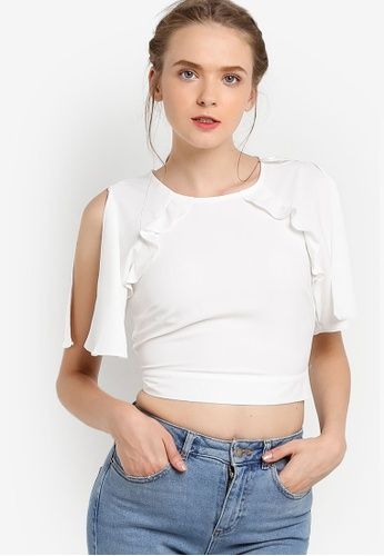 Miss Selfridge 白色 White Angel Sleeve Cold Shoulder Top MI665AA73EBAMY_1