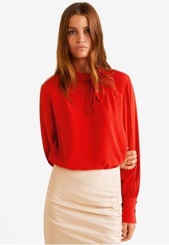 Mango red Tie-Neck Blouse 7440BAAAD2E72DGS_1