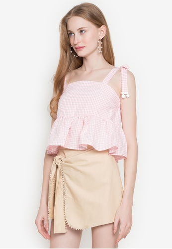 Andi + Olivia pink Tie Shoulder Gingham Top 7A97BAA984C67FGS_1