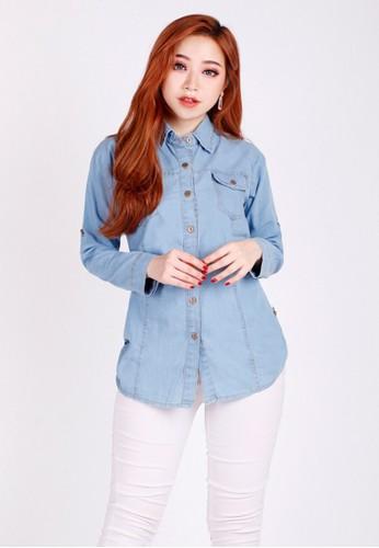 Brielle Jeans blue Kemeja Lengan Panjang 3607 Biru Muda EA23FAA27E0C6CGS_1