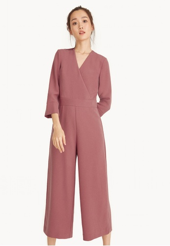 9417c0ad4d94f Pomelo pink Cropped Wide Leg Surplice Jumpsuit - Pink 03CFDAAEB00874GS 1