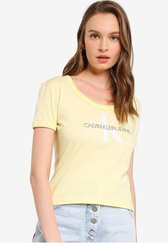 Calvin Klein yellow A-Vegetable Dye Tee - Calvin Klein Jeans 5545BAAC10C8F5GS_1