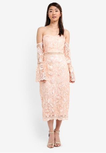 True Decadence pink Off Shoulder Lace Dress C6342AA4C9C4BEGS_1