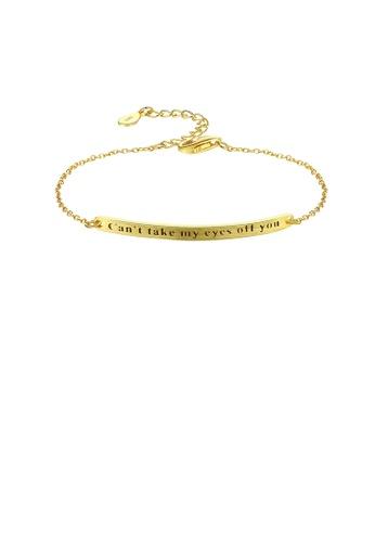 Glamorousky silver 925 Sterling Silver Plated Gold Simple Fashion Geometric Bar Bracelet CA336ACFC5639CGS_1