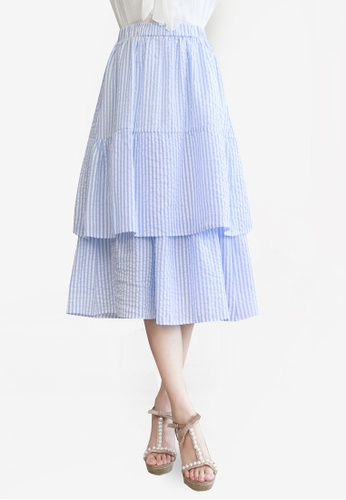Yoco blue Layered Stripe Skirt 4DC1DAAA1F8427GS_1