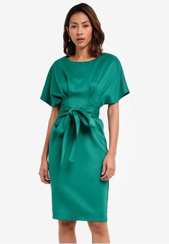 Goddiva green Kimono Sleeve Midi Dress With A Tie Detail 8EBF5AA8EFA6D8GS_1