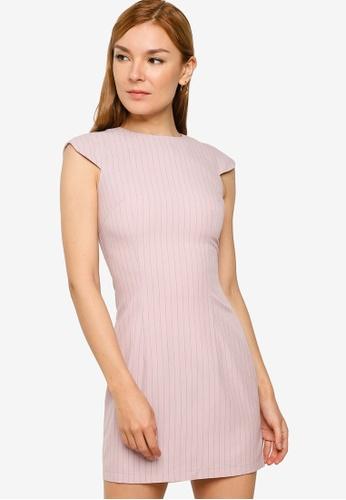 ZALORA WORK pink Scallop Sleeve Mini Dress 7A082AA0D3AE6DGS_1