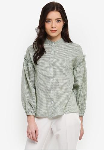 Zalia green Shirt With Frill FD60DAA4CCABB9GS_1