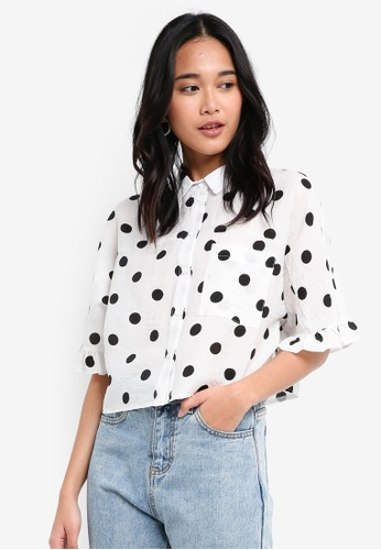 TOPSHOP black and white Frill Spotty Shirt 642F5AA96AC098GS_1