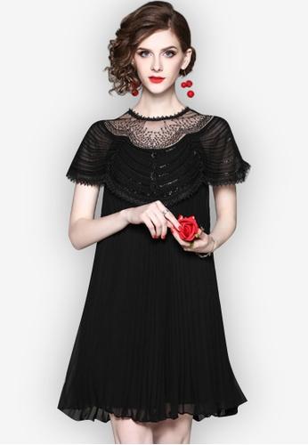 Sunnydaysweety black New Pleated Perspective One Piece Dress UA032699BK C9346AA4FB45CFGS_1