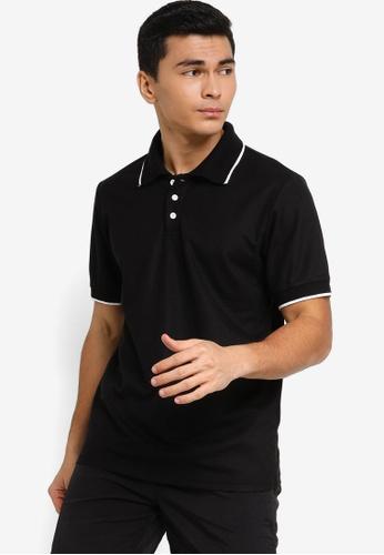 ZALORA ACTIVE black Tipped Collar Polo Shirt EF966AAD3AD9EAGS_1