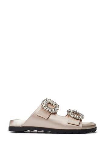 PAZZION beige Buckle Slide Sandals A00A8SH0B74943GS_1