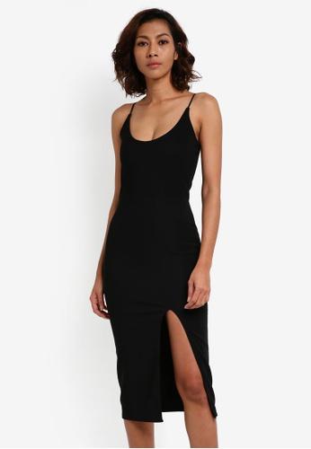 MISSGUIDED black Strappy Scoop Neck Midi Dress 632CDAA247C5A7GS_1