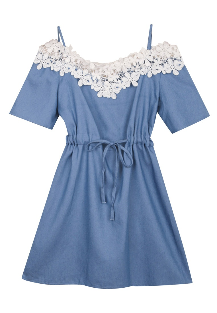 Drawstring Eyescream Navy Dress Lace Neckline wBpxqwY