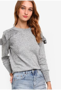TOPSHOP  Petite Ruffle Shoulder Knit Top