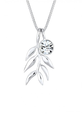 Elli Germany silver Perhiasan Wanita Perak Asli - Silver Kalung Olive Leaf Branch Crystal EL948AC57XUWID_1