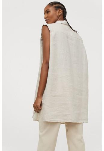 H&M beige Sleeveless linen blouse 0D910AA8A84070GS_1