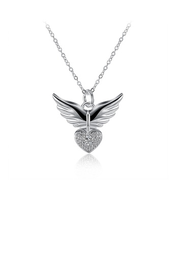 Glamorousky white Fashion Heart Wing Pendant with Cubic Zircon and Necklace A36E3AC3A10363GS_1