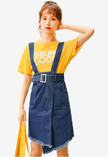 Shopsfashion blue Denim Slip Playsuit With Asymmetrical Hem D1E2CAA563589EGS_1