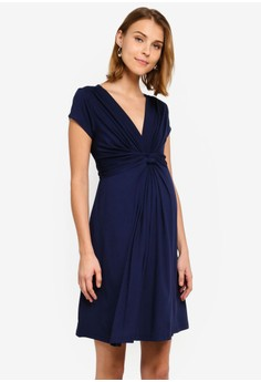 Jolene Short Sleeve Maternity Front Knot Dress