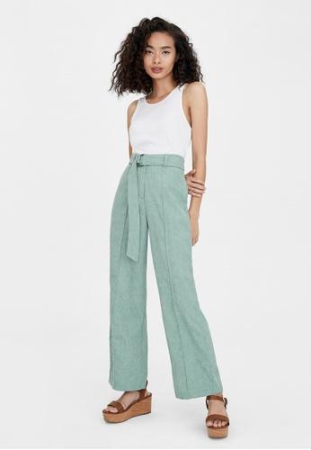 Pomelo blue Semi Pleat Belted Corduroy Pants - Mint 295D7AAF0C8C7DGS_1