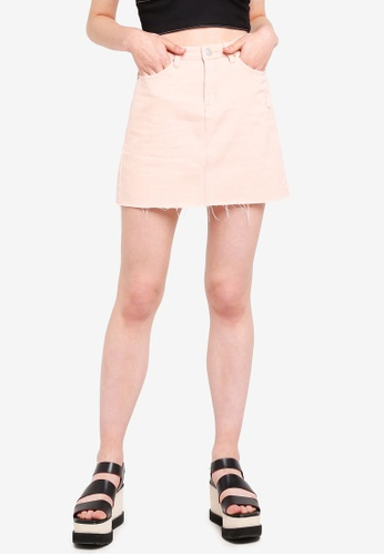 Something Borrowed pink High Waisted Mini Denim Skirt 532A5AAB07E887GS_1