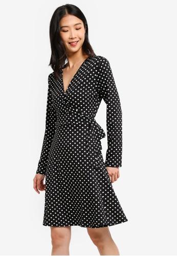 ZALORA BASICS black and multi Basic Jersey Wrap Dress 8EFE2AA1141575GS_1