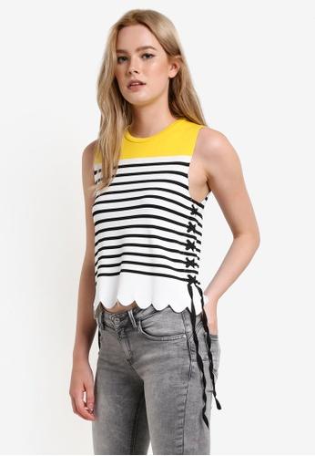 Mango white and multi Striped Knit Top MA193AA24CBZMY_1