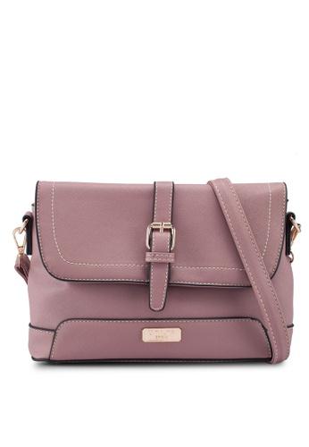 Unisa pink Saffiano 2-Way Usage Sling Bag AA887ACB108449GS_1