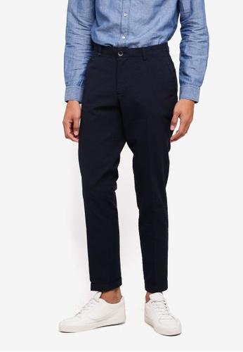 Sisley 藍色 泡泡布斜口袋九分長褲 E16CBAAD1629DCGS_1