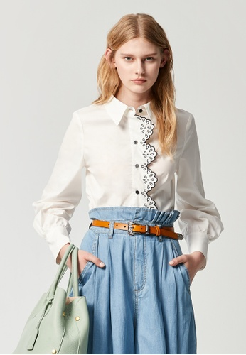 iROO white Embroidery Placket Blouse 338C9AA2958504GS_1