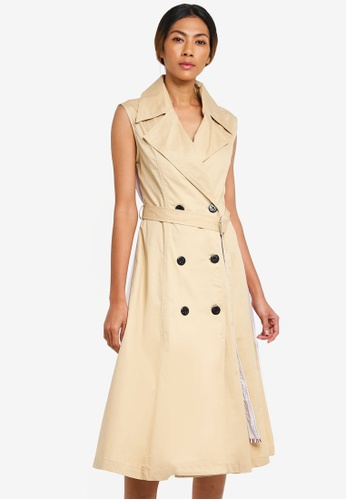 Haute Kelly beige Mina Two Way Trench Dress A8F03AA3B1DF0BGS_1