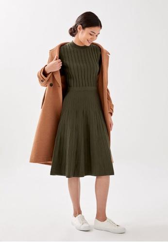 Love, Bonito green Velah Ribbed Knit Dress 40D68AAA76FBFCGS_1