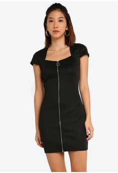 4fb29d0fac6 Something Borrowed black Bodycon Dress with Zipper Detail 470BEAAC747F18GS_1