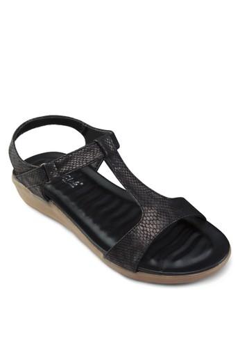 T字帶楔形esprit outlet 台灣跟涼鞋, 女鞋, 涼鞋