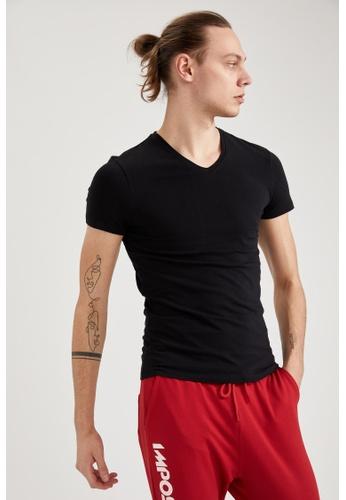 DeFacto black Short Sleeve V-Neck Cotton Undershirt DCEA6US6CE7944GS_1