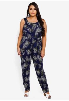 dfbd705e6798 Dorothy Perkins navy Plus Size Tropical Square Neck Jumpsuit  C600DAAE17A064GS_1