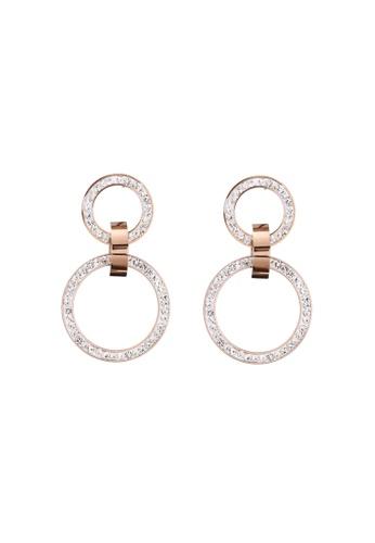 CELOVIS white and gold CELOVIS - Gloria in White Zirconia Double Circle Drop Earrings 189F1ACBBCB23DGS_1