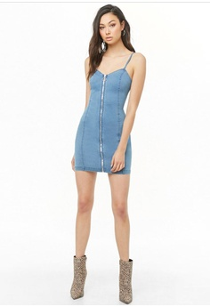 c091647dd027 FOREVER 21 Denim Zip Front Bodycon Dress S$ 32.90. Sizes S M L