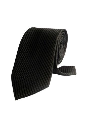 Well Suited black Solid Stripe Necktie 614B8AC618020EGS_1