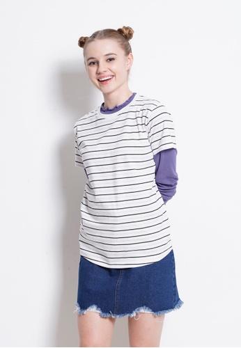 Fave white Short Sleeve Stripe Trend Tee 9CB0BAA7F172EDGS_1