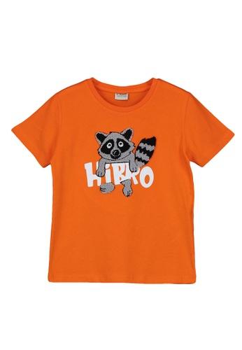 LC Waikiki orange Boy's Printed Cotton T-Shirt F60CFKA5A6DE3AGS_1