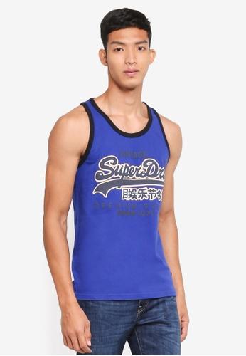 Superdry blue Premium Goods Ribed Vest 3FAF2AAE677D6CGS_1
