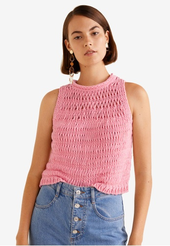 Mango pink Knot Knitted Top 8492DAAFF30D58GS_1