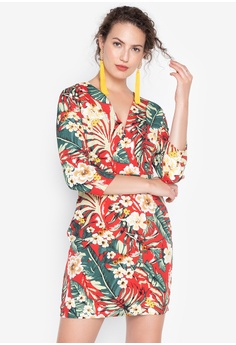 bed5758f2c329 Spring Fling red Pamela Floral Faux Wrap Knee Length Dress  7AE1FAAA773E22GS_1
