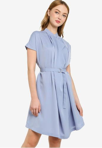ZALORA WORK blue High Neck Self Tie Dress E53B7AA66B1E02GS_1