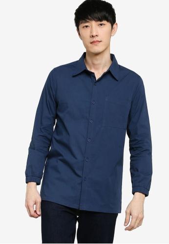 ZALORA BASICS 海軍藍色 Elastic Cuff Shirt 6C004AA109ED4CGS_1
